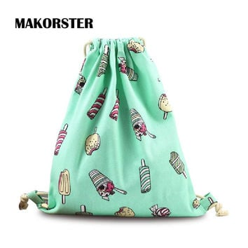 MAKORSTER Fashion backpacks for teenage girls Cotton Fabric Women backpack school drawstring bag mini ice cream  MK064