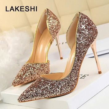 LAKESHI Women Pumps Bling High Heels Women Pumps Glitter High Heel Shoes Woman Sexy Wedding Shoes Gold Silver 35-40