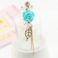 TOOGOO(R) Earphone Jack Accessory Gold Plated Blue Flower Golden Leaves Tassel Chain Beads Crystal Pearls / Dust Plug / Ear Jack For For Iphone 4 4S / iPad / iPod Touch / Other 3.5mm Ear Jack