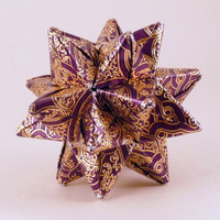 Origami Star Purple with Gold Filigree