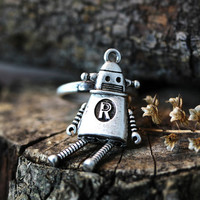 Lonley Robot Ring Antique Retro Burnished Funny Fancy Toy Ring Jewelry Adjustable Ring gift idea
