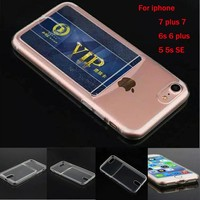 Case For iPhone 7 7plus Ultrathin Clear Soft TPU Phone Silicone Case for iphone 7 6 6s 5 5s SE 6 plus Transparent with Card Slot