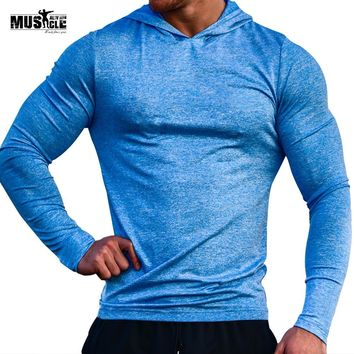 MUSCLE ALIVE Sports Wear For Men Gym Clothes Brand Clothing Bodybuilding Hoodies Fitness Sweatshirt Thin Shirt Polyester