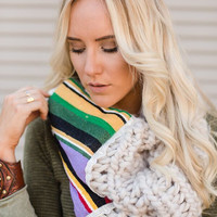 Serape Accent Knitted Snood Scarf