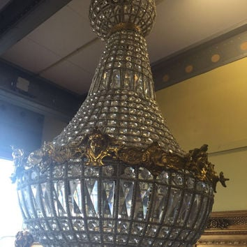 "Woman Face Chandelier LARGE Antique French Woman Head Caged Basket Brass Empire Bowl 35""H x 22""D Interior Design Refinished Brass Louis XVI"