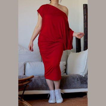 Midi Off Shoulder Dress / Red Midi Asymmetric Wide Dress / Red Tunic Short Sleeves / Italian Cotton Jersey