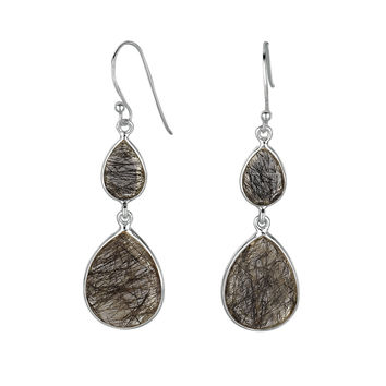Double Teardrops Of Black Rutilated Quartz Drop Earrings Set In Rhodium Plated Sterling Silver