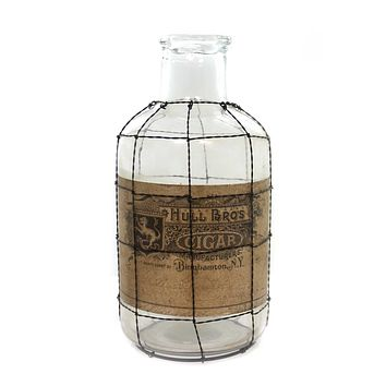Halloween GLASS BOTTLE WIRE MESH CAGE SM Glass Hull Bros Cigar 13442Sm
