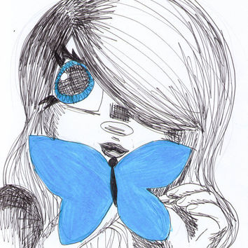 Butterfly Eyes 8x10 sketch print