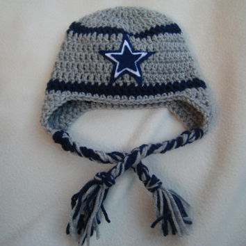 Crocheted Dallas Cowboys Football Helmet Baby Beanie - MADE TO ORDER - Handmade by Me