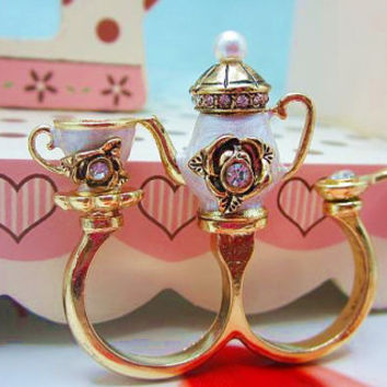 unique personalized double fingers ring retro teapot cup set ring color glaze tackiness ring bridesmaids friendship love gifts