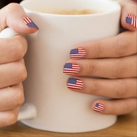 American flag nail enhancements | 4th of July idea nail wraps