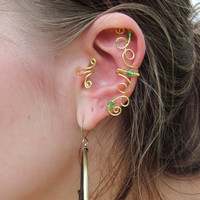 Green Beaded Gold Wire CurlyQ Ear Cuff by TheHempChick on Etsy