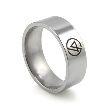 New Men's Fashion Rings Symbol Linkin Park Rock Band Stainless Steel Ring For Fans Free shipping