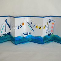 HAPPY SAILING FLAGs and Sailboats Pop-Up 3D Card Handmade in White Dark Blue Turquoise Green Transparent Shades on Metallic Blue OOaK