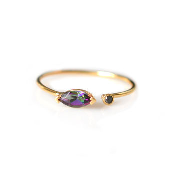 14kt Gold Mystic Topaz and Black Diamond Fleur Ring