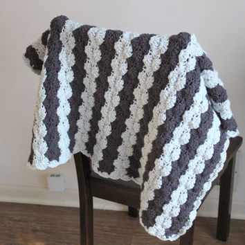 Neutral Gray and White Crochet Baby Blanket, Made from the softest acrylic yarn, Nursery, Baby Blanket