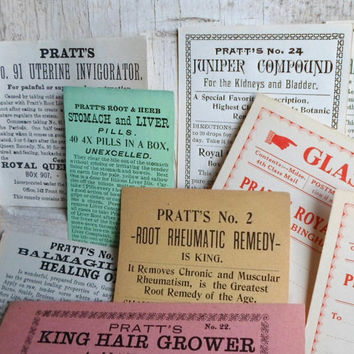 Authentic 1800s Quack Medicine Remedies, Victorian, 24 Labels, Apothecary, Pharmacy, New Old Stock, Antique, Ephemera, Medical, Supplies