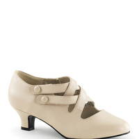 Funtasma Dame-02 Cream Kitten Heel Pump