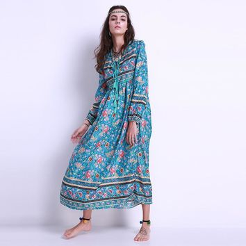 2017 Fashion Women Floral Print Chiffon Long Maxi Dress Boho Long Sleeve V Neck Loose Beach Midi Sundress Ladies Kaftan Pullover