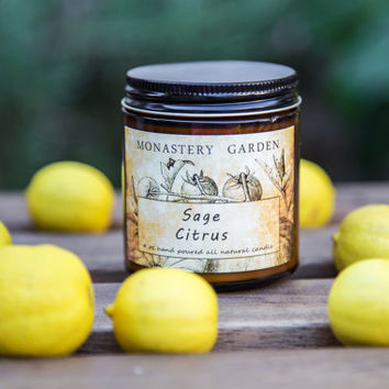 4 oz SAGE CITRUS Scented candle, soy candle, gift for vegan, all natural candle