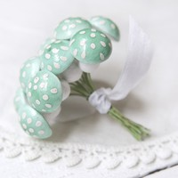 Spun Cotton Mushrooms - Mint Green, 3/4 Inch Tall, Made in Germany
