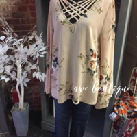 Floral Criss-Cross Neck Top