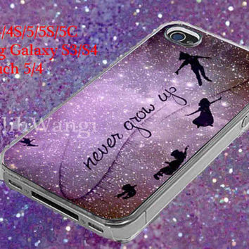 Peter Pan Quote Disney Purple Design Case for iPhone 4/4S/5/5S/5C, Samsung Galaxy S3/S4, Ipod Touch 4/5, htc One x/x+/S