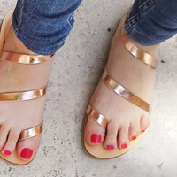 Mirror Leather Sandals in Rose Gold Leather - More colours available