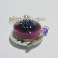 Scented or Unscented Blueberry Cheesecake Miniature Food Necklace Pendant - Miniature Food Jewelry