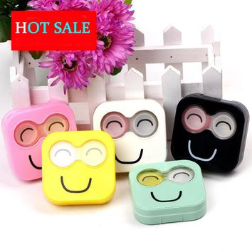 Smiling face Contact Lens Case Women Plastic Glasses Box For Lenses Cute Eyeglass Case With Mirror B22