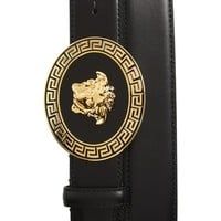 Versace First Line Oval Medusa Leather Belt | Nordstrom