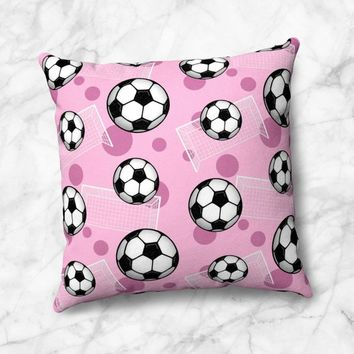 Pink Soccer Throw Pillow - Pattern With Soccer Balls And Goals - Size Options - Cover Only or Full Pillow - Made to Order