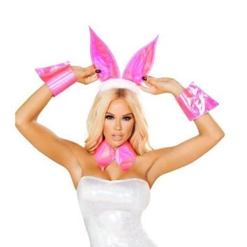 Pink Bunny Accessories - 3pc Party Set