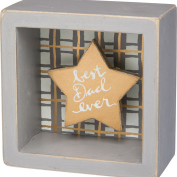 Best Dad Ever - Gold Star Shadowbox Box Mini Box Sign - 3-1/2-in