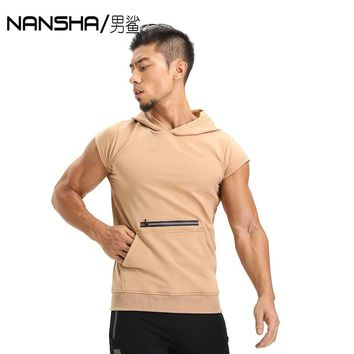 Men's Fit Sleeveless Tapered Cotton Hoodie Bodybuilding Tank Tops Crossfit Workout Sleeveless Jackets Terry Top Male