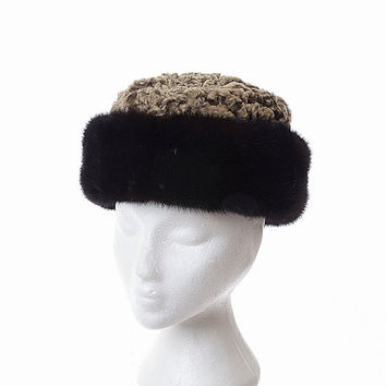 Vintage Brown Persian Curly Lamb and Mink Fur Hat 60s 70s 1960s 1970s Mod Ski Cossack Cloche Russian Princess Style Winter Hat