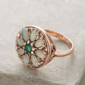 Arik Kastan Emerald and Opal Round Mandala Ring in 14k Rose Gold in Mint Size: