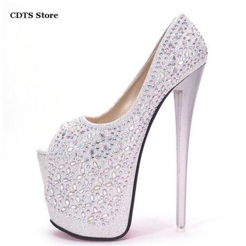Cdts Sapato Summer Nightclub Bling Bling Crystal Rhinestone Peep Toe Sandals Red Bottom 20cm Thin High Heels Shoes Women's Pumps - Beauty Ticks