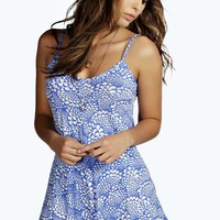 Bella Blue Tile Print Swing Playsuit
