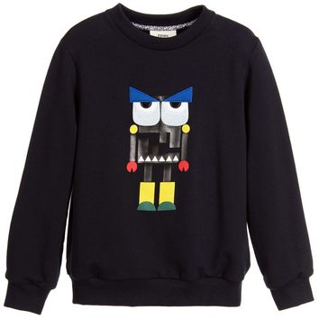 Fendi Boys Navy Blue 'Monster' Robot Sweatshirt