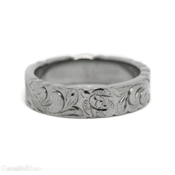 6mm Sterling Silver Black Rhodium Finish Hawaiian Turtle Band