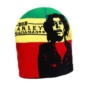 HOT SALES wool knitted beanie hats Bob Marley Jamaican singer hip-hop cap gorro for woman and men black green yellow red