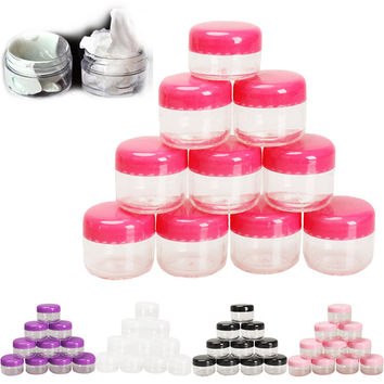 10Pcs set Cosmetic Empty Jar Pot Eyeshadow Makeup Face Cream Container Empty Cosmetic Containers Cosmetic Sample Containers