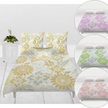 Duvet Cover - 3 different sizes, Without Insert, Bedroom, Home decor, Gold, Purple, Coral, Green, With or Without Shams, Beige, Floral