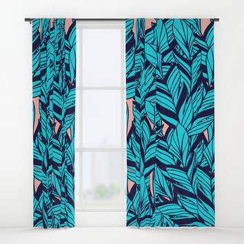 Blue Banana Leaf Pattern Window Curtains by cadinera