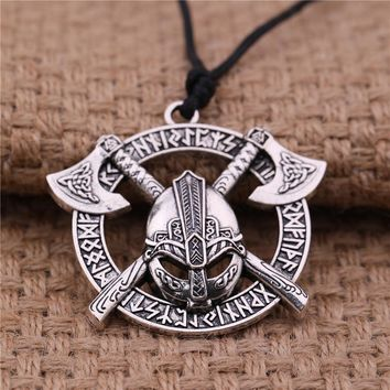 Dawapara Men Viking Axe Helmet Pendant Necklace Odin raven Slavic Amulet Taliman wicca jewelry best gift gold sliver color