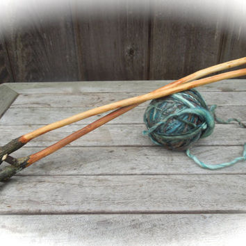 US 10 - 6mm hand carved wooden knitting needles - size US 10, 6mm reclaimed wood knitting needles -