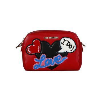 Love Moschino Red Synthetic Leather Clutch Bag