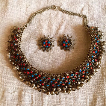 Rare Kuchi Bell Necklace - rare vintage necklace - India - bellydancer necklace set - old silver - collectible jewelry - faux turquoise cora